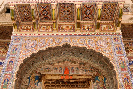 frescoed: Frescoed Havelis in Shekhawati, traditional ornately decorated residences,  India  Rajasthan