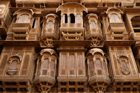 rajput: Richly decorated houses of merchants from India in the Rajasthan state