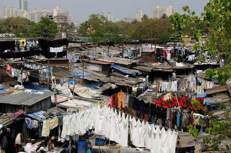 dhobi ghat: MUMBAI, INDIA - MARCH 25   People at Dhobi Ghat, the world
