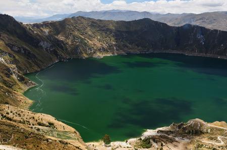 crater lake: Volcano crater lake, Quilotoa, Ecuador
