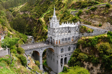 old building facade: Colombia, church of Las Lajas Stock Photo