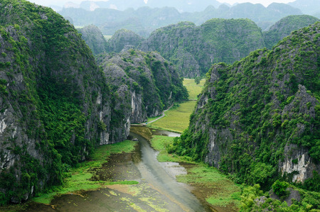 tam: Tam Coc Natioanl Park, Karst formation in the water, Most spectacular scenery in Vietnam