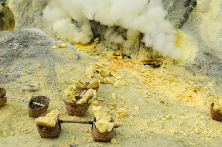 erupt: View at the caldera Kawah Ijen sulfur volcano near Bondowoso, Baluran National Park, Indonesia, East Jawa