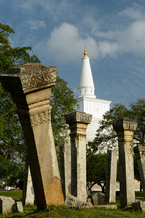 dagoba: Anuradhapura ruin, historical capital city of the Sinhalese Buddhist state on Sri Lances The photograph is presenting the Ruvanmali Maha dagoba (stupa). Stock Photo
