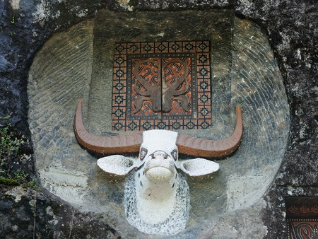 celebes: Ancient forged tomb in rock in Indonesia in the Tana Toraja area decorated with the head of the bull