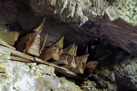 coffins: Wooden coffins with the body in sepulchral caves in the region Tana Toraja on an island Sulawesi in Indonesia