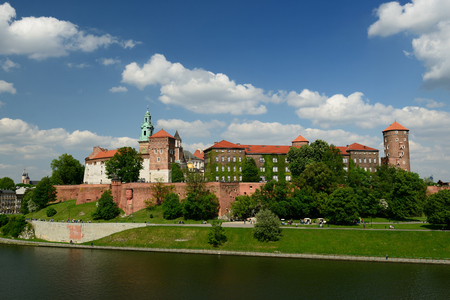 cracovia: View on castle complex Wawel in Cracow Poland Editorial
