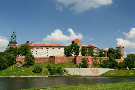 cracovia: View on castle complex Wawel in Cracow Poland Stock Photo