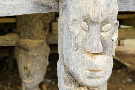 Traditional Dayak tribal culture. Detail Dayak longhouse house in Long Hubung village. East Kalimantan Indonesia Borneo.