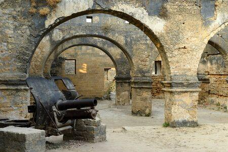 gujarat: Cannon in the Portuguese fort in the Diu town in Gujarat. India