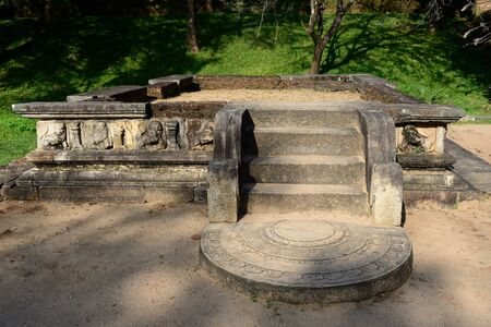 anuradhapura: The ruins of Polonnaruwa was the second capital of Sri Lanka after the destruction of Polonnaruwa. The photograph is presenting tank of water in the Royal Palace Ruins. Sri Lanka