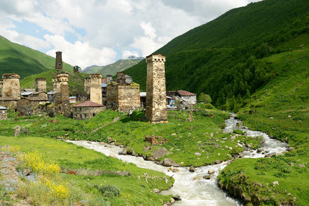 shkhara: Watchtowers in villages being in Georgia in the Svaneti area in the mountains of the Caucasus, a UNESCO World Heritage Sites.