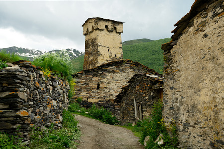 swanetia: Watchtowers in villages being in Georgia in the Svaneti area in the mountains of the Caucasus, a UNESCO World Heritage Sites.