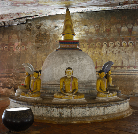 insides: Insides of caves in ancient Buddhist complex in Dambulla cave temple. Sri Lanka.