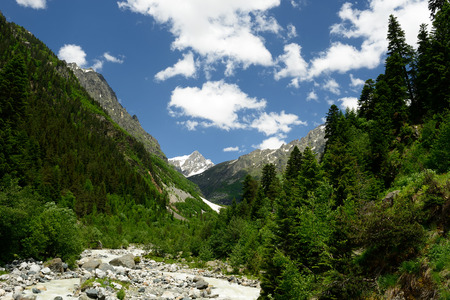 swanetia: View on the Caucasus in transit to the Chalaadi glacier Stock Photo