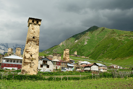 swanetia: Watchtowers in villages being in Georgia in the Svaneti area in the mountains of the Caucasus, and the UNESCO World Heritage Sites.