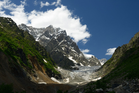 mestia: View on the Chalaadi glacier in the mountains of the Caucasus in surroundings of the Mestia town. Georgia