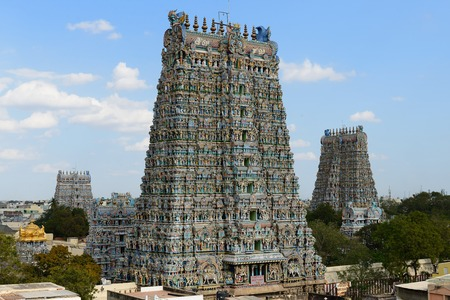 Meenakshi Sundareswarar Temple in Madurai. Tamil Nadu, India. It is a twin temple, one of Which is it dedicated to Meenakshi, and the other is Lord Sundareswarar Editorial