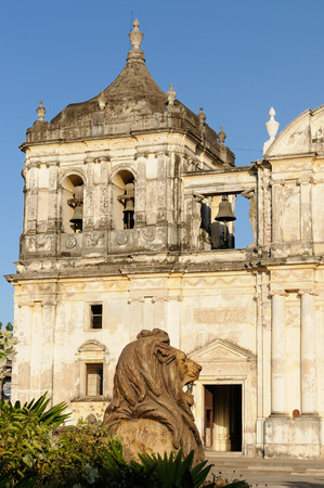 ade: Leon - the colonial Spanish city in Nicaragua has the larges cathedral in Central America and the colorful architecture Stock Photo