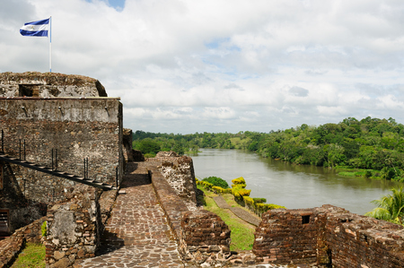 Nicaragua, Spanish defensive fortification in of El Castillo on a river bank San Juan defending the access to the city of Grenada against pirates. Editorial