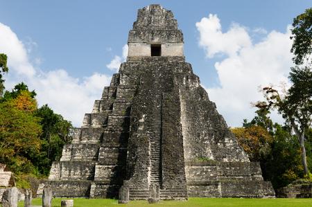 pyramid: Guatemala, Mayan ruins in the jungle in Tikal. The picture presents Temple I on the Plaza Grande, Central America