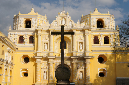 colonial church: Facade of the colonial church in the Antigua town in Guatemala, Central America