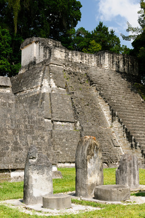 mayan: Guatemala, Mayan ruins in the jungle in Tikal. The picture presents Acropolis del Norte