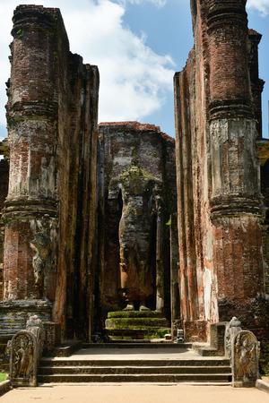 vihara: Polonnaruwa ruin was the second capital of Sri Lanka after the destruction of Polonnaruwa. The photograph is presenting  a Lankatilaka Vihara temple. Sri Lanka