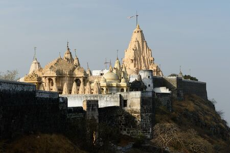 rajhastan: Jain temples on the holy Palitana top in the Gujarat state in India Stock Photo