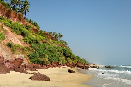 varkala: Beautiful orange cliffs on the Varkala beach. India