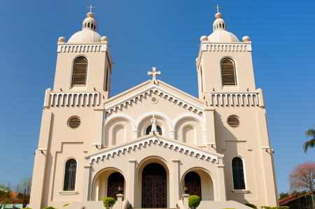 ade: Cathedral of downtown Encarnacion city, Paraguay, South America