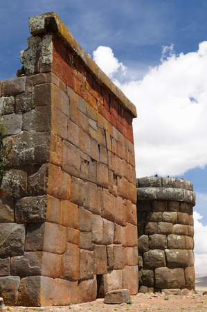 funerary: Inca prehistoric ruins in Cutimbo its modest number of well-preserved chullpas, built by the Colla people near Puno, Titicaca lake area. This photo present funerary towers, chullpa in archaelolgical complex of Cutimbo
