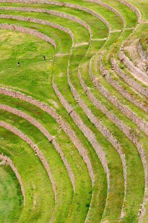 probable: Moray, ancient Inca circular terraces. Probable there is the Incas laboratory of agriculture, Sacred Valley, Peru Stock Photo