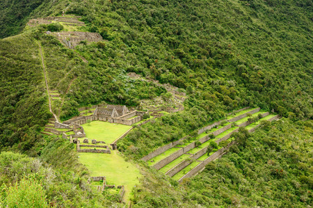 truncated: Choquequirao is an Incan site in south Peru, similar in structure and architecture to Machu Picchu. The ruins are buildings and terraces at levels above and below Sunchu Pata, the truncated hill top