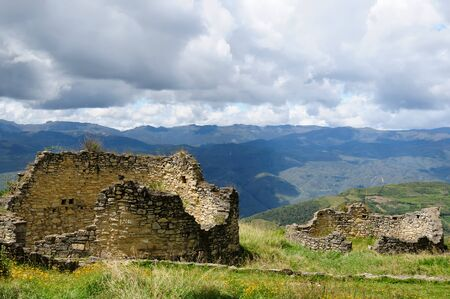 grandeur: Peru, Kuelap matched in grandeur only by the Machu Picchu, this ruined citadel city in the mountains near Chachapoyas. Peru Stock Photo