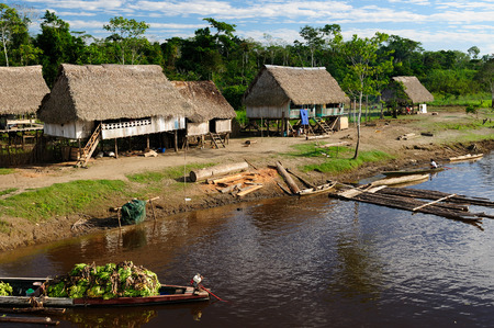 amazonas: Amazonas landscape. Typical indian tribes in Peru