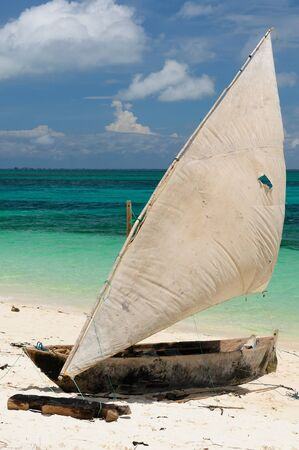 zanzibar: Tanzania Traditional fishing boats on the island of Zanzibar Stock Photo