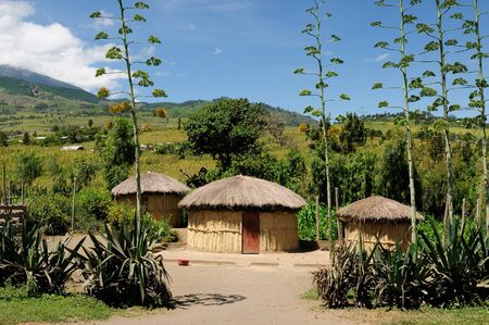mwanza: Traditional round mud house in africa near Arusha in Tanzania