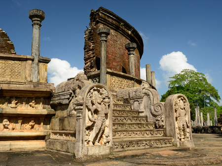 vihara: The ruins of Polonnaruwa was the second capital of Sri Lanka after the destruction of Polonnaruwa. The photograph is presenting Vatadage Round House. Sri Lanka Stock Photo