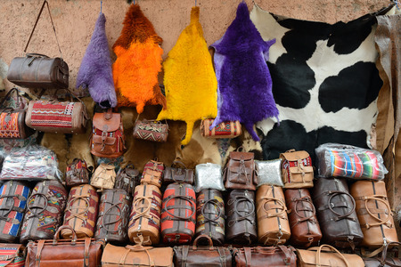 article of clothing: Leather ware on the souk market in the old town, Medina in Morocco Stock Photo
