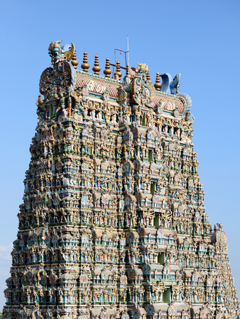 tamil nadu: Meenakshi Sundareswarar Temple in Madurai. Tamil Nadu, India. It is a twin temple, one of Which is it dedicated to Meenakshi, and the other is Lord Sundareswarar Stock Photo