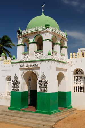 wood carving door: Muslim mosque in the town of Lamu in Kenya Stock Photo
