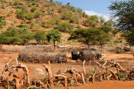 mwanza: Traditional round house of people from the Samburu tribe in the South Horr village in Kenya Stock Photo