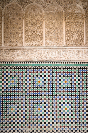 unusually: Detail of unusually ornamented Moroccan architecture in Fez