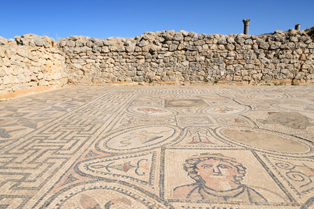 extensive: Extensive complex of ruins of the Roman city Volubilis - ancient Roman mosaics Stock Photo