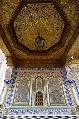 unusually: Detail of unusually ornamented Moroccan architecture in the street in the town Fez Editorial