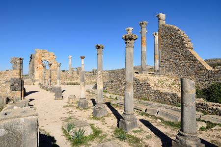 dorian: Extensive complex of ruins of the Roman city of Volubilis Stock Photo
