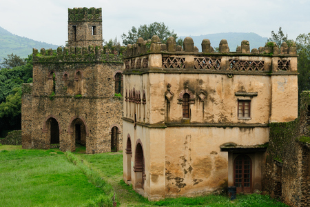 heritage protection: Castle built by the Emperor Fasilides  in the Gonder town in Ethiopia, Royal Enclosure Editorial