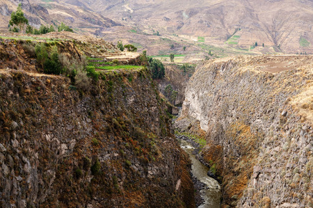 hillsides: South America, Peru, Colca canyon. the secend wolds deepest canyon at 3191m. Terrace fields on hillsides of the canyon