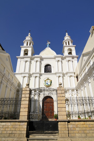 evident: South America, The capital city of Bolivia - Sucre has a rich colonial heritage, evident in its buildings, street-scapes and numerous churches. In 1991 Unesco Cultural Heritage site, now its important tourist place. Chuquisaca Department building Editorial